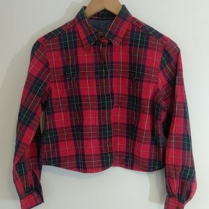 Vintage 80's or 90's cropped flannel shirt  small